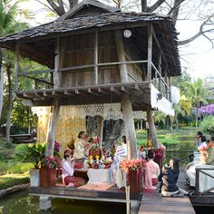 Lanna Wedding Ceremony for real wedding vow renewal at Four Seasons Resort Chiang Mai's Rice Barn