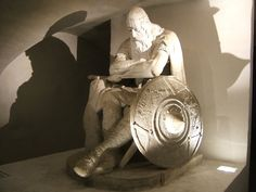 This is Holger Danske, in the basement of Kronborg Castle in Denmark. My dad told me about him when I was a kid. Holger Danske is said to be asleep but will wake to protect Denmark if the country is ever in danger.