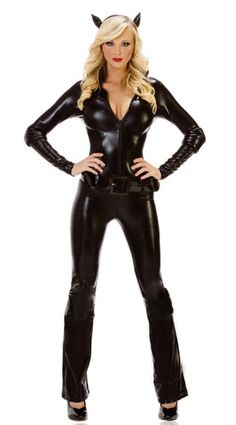 New catwoman cat woman costume ladies supergirl superhero new medium size sexy cat woman black suit halloween costume with head band ebay solutioingenieria Image collections