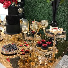 """325 Likes, 12 Comments - Opulent Treasures (@opulenttreasures) on Instagram: """"OH BABY✨✨ Glam Baby Shower by @anagnydilone ✨ aren't our Shiny Gold & Bling Cake Stands…"""""""