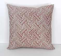 Pillow Cover Geometric Print Red, Natural Tan, Cotton Linen Home Dec fabric,  18x 18 inch zipper closure by OriginalCopyDesigns on Etsy