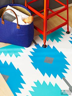 Kitchen Cabinet : Update Your Kitchen Employing This DIY Painted Rug. Kitchen Rug Bed Bath Beyond. Trending Paint Colors, Popular Paint Colors, Back Painting, Diy Painting, Painting Rugs, Painted Rug, Hand Painted, Painted Floors, Paint Upholstery