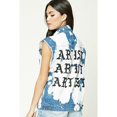 Forever21 Artist Bleach-Dye Denim Vest ($26) ❤ liked on Polyvore featuring outerwear, vests, pocket vest, forever 21, button vest, white vest and white denim vests
