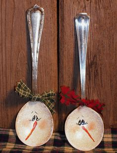 Snowman Silver Spoon Christmas Ornament
