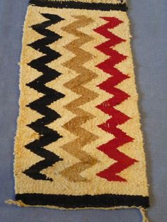 Vintage  chunky wool Navajo Rug  table runner cover  18 x 10  old hand woven