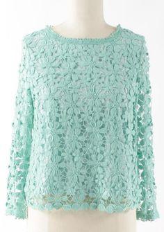 Mint Lace-Back Button-Up Top