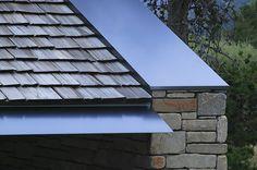 Detail photo of custom metal fascia using stainless steel
