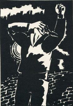 """Frans Masereel (1889-1972) was een Vlaamse graficus en houtsnijder. Het moderne leven in de grote steden tijdens de eerste helft van de twintigste eeuw is door hem in houtsneden weergegeven.Hij reist veel en rond 1910 gaat hij in Parijs wonen en komt daar toevallig in aanraking met de houtsnede. Tot 1920 verschijnen een kleine duizend tekeningen in dagelijkse afleveringen in het pacifistische tijdschrift """"La Feuille"""", waarbij hij de verschrikkingen van de oorlog in beeld brengt."""