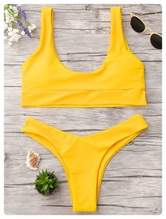 U Neck Bralette Thong Bikini Set (Bright yellow)