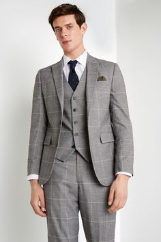 Moss 1851 Tailored Fit Black and White Check Mens Suit Jacket 2 Button Moss Bros, Checked Suit, Crisp White Shirt, Fitted Suit, Wool Suit, Jacket Buttons, Mens Suits, Suit Jacket, Menswear