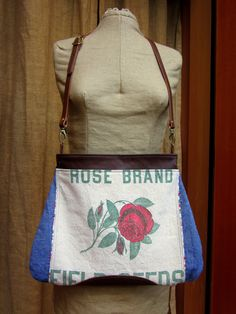 Handmade vintage seed and flour sack fabric, denim and leather purse, bi-fold wallet and zipper pouch set.
