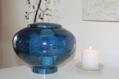 """Custom Artistic Wooden Cremation Urn for Ashes for Pets or Humans - """"Peony, Blue"""""""