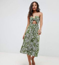 a6e3571bfbe ASOS Tall ASOS DESIGN Tall midi sundress with tie front in palm print Midi  Sundress
