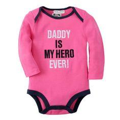 Dady is my hero ever Baby Girl Onesies Long Sleeve Plain Pink