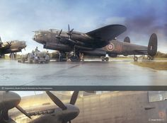 Piotr Forkasiewicz is an artist from Poland who specialises in the kind of aircraft illustrations you see on stuff like model kits and history magazines. Lancaster Bomber, Ww2 Aircraft, Aviation Art, Fighter Jets, Photoshop, Scene, Illustration, Artwork, Model