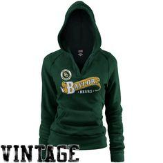 -Baylor Bears Ladies Green Rugby Distressed Deep V-Neck Pullover Hoodie Sweatshirt $35.95