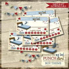 Printable Stayed in Bed Punch Cards - Blue Theme - Boy Theme Reward Chart Kids, Kids Rewards, Bedtime Chart, Kid Stuff, Random Stuff, Blue Punch, Online Fun, Working Mums, Charts For Kids