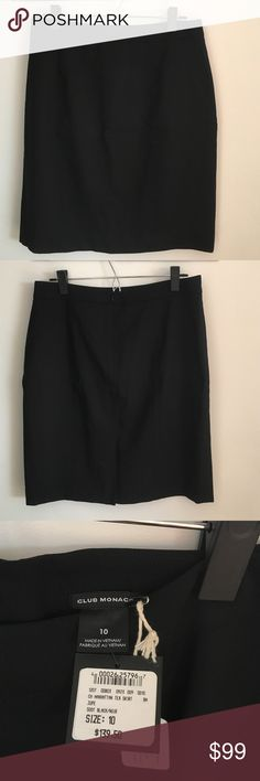 Club Monaco - Brand new black pencil skirt Club Monaco black Italian tropical wool pencil skirt. Brand new with tags. Fully lined shell: 98% wool ; 2% spandex. Lining: 100% polyester Club Monaco Skirts Pencil
