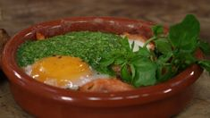 Baked eggs with salmon and watercress