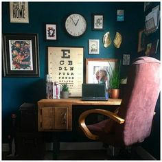 Dark Teal Living Room, Dark Teal Bedroom, Teal Rooms, Teal Accent Walls, Accent Wall Bedroom, Teal Walls, Home Office Design, Home Office Decor, Home Decor Bedroom