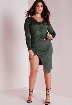 Plus Size Faux Suede Midi Dress Khaki