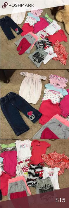 20 piece baby girls clothes lot Well used so not in new condition. Just trying to get rid of old clothing my daughter no longer fits. There are sizes varying from newborn to 12 months. Most clothes are in the 0-6 month range. I would like to sell all together so I won't be separating. These are more used the the other clothes I've posted which is why they are listed so low. Brand very as well. PRICE IS FIRM. It comes out to about 60 cents for each item. Other