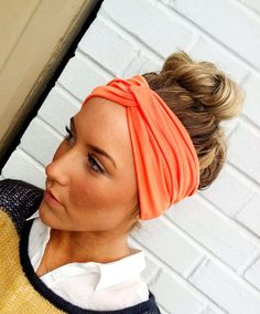 Coral Turband Headband Stretch Jersey Twist by ThreeBirdNest, $24.00