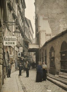 "back-then: "" Judengasse, Vienna Austria, 1913 Photo: Albert Kahn "" Scenery Pictures, Old Pictures, Old Photos, Albert Kahn, Somewhere In Time, Austro Hungarian, World Cities, Salzburg, Vintage Photography"