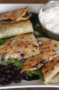 black bean and chicken quesadilla