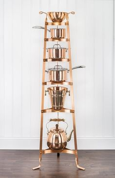 Copper Home Accessories Pot Racks - Old Dutch 60 5 in Six Shelf Satin Copper Cookware Stand. Kitchen Pans, Gold Kitchen, Kitchen Storage, Kitchen Tools, Kitchen Ideas, Kitchen Kit, Kitchen Corner, Pantry Ideas, French Kitchen