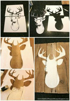 burlap canvas, a piece of scrap fabric, - Fabric Crafts DIY Wood Crafts, Diy And Crafts, Art Crafts, Decor Crafts, Hirsch Silhouette, Deer Silhouette, Deer Decor, Camo Nursery Decor, Deer Themed Nursery