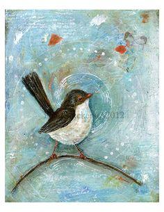 Bird Fine Art print of my original mixed media by DianeAckers, $15.00