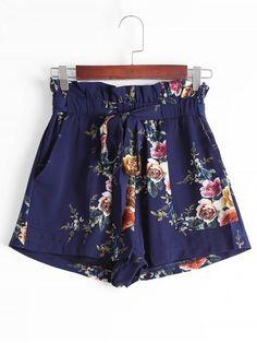 Ruffled Smocked Floral High Waisted Shorts - PURPLISH BLUE M