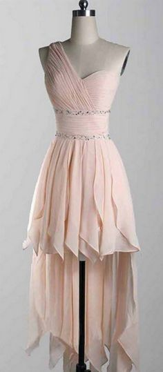 Elegant Homecoming Dress,High Low Prom Dress,One Shoulder Party