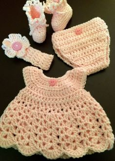 Handmade Crochet 5 pc Outfit - 14 to 18 in. Doll/Preemie (up to 5 lbs) Baby Pink #Handmade #DressyEverydayHoliday