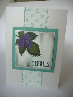 Blank greetings card - Berries - hand painted FREE p&p £4.00
