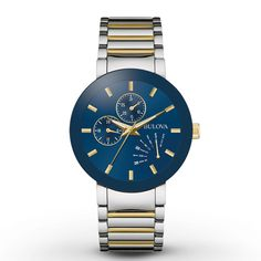 This distinctive men's watch from the Classic collection by Bulova showcases a blue dial with day, date, and 24-hour subdials set in a 40mm two-tone stainless steel case topped by a curved mineral crystal. A deployment clasp secures the two-tone stainless steel bracelet. Water-resistant to 30 meters, the men's watch features a quartz movement.