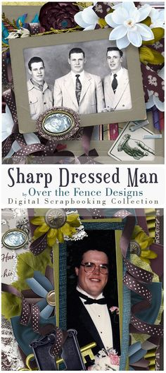 """This collection is perfect for all the Sharp Dressed Men in our lives. With a palette of chartreuse, teal, blue, green, wine, charcoal, taupe, chalk, and deep blue-plum it says """"manly"""", and the elements are an eclectic mix of vintage and modern for a fun scrapping experience. There are flowers & ribbons & foliage so you can scrap the ladies in the family too."""