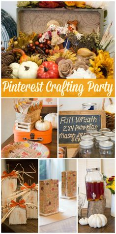 A fall party with crafts and treats found on Pinterest!  See more party planning ideas at CatchMyParty.com!