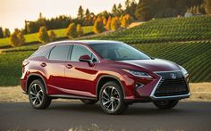 Download wallpapers Lexus RX, 2017, crossover, red RX 350, Japanese cars, luxury SUV, Lexus