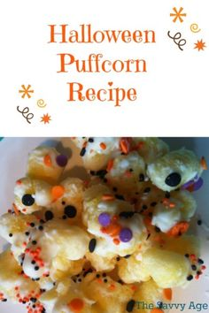 Halloween Puffcorn Treats are sweet, savory and yummy. Learn how to make this affordable snack to feed a crowd.