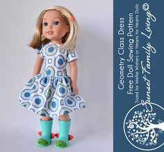 Geometry Class Dress | Free Sewing Pattern | Free Doll Pattern | Dress for Wellie Wishers or Heart to Heart Dolls | American Girl | 14.5%22 Doll
