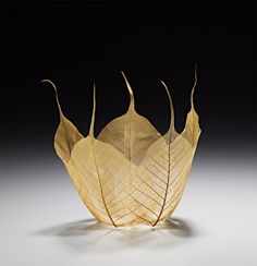 Maple Leaf Bowl Sculpture: Japanese artist Kay Sekimachi has created a beautiful set of leaf bowl sculptures using skeletons of actual maple leaves. The artist added Kozo paper, watercolor Leaf Skeleton, Do It Yourself Inspiration, Leaf Bowls, Graduation Party Decor, Nature Crafts, Japanese Artists, Textile Art, Fiber Art, Creations
