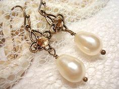 Delicate vintage style bridal earrings wedding by treasures570, $25.00