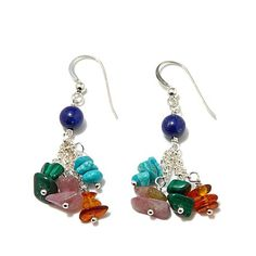 """Turquoise Soul  . . .   Jay King Multigem and Chain """"Whimsy"""" Earrings"""