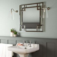 Our Daffings mirror has a slick contemporary and geometric feel to it. Square within squares within squares. In a nickel finish. A real head turner. Loft Bathroom, Small Bathroom, Bathroom Ideas, Family Bathroom, Master Bathrooms, Family Room, Small Toilet Room, Victorian Bathroom, Style Noir