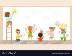 Preschool kids painting with brushes and paints on white wall vector Illustration ,
