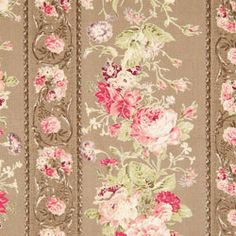 Mary Rose Taupe Vintage Rose Wallpaper Stripe