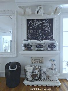 Junk Chic Cottage: * New Chalkboard * New Coffee Bar * Coffee Bar Station, Tea Station, Coffee Stations, Keurig Station, Beverage Stations, Coffee Bars In Kitchen, Coffee Bar Home, Bar Kitchen, Mini Bar