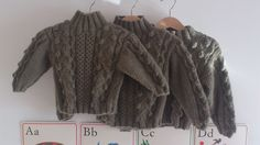 Hand Knitted Merino Wool Babies Boys Cable & Bobble Jumper Sweater
